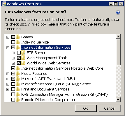 Figure 2 - Installing IIS on Windows Vista and Windows 7