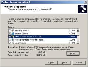 Figure 1 - Installing IIS on Windows XP
