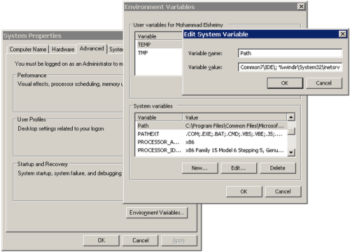 Figure 3 - Setting the Path Environment Variable