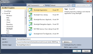 Figure 18 - Creating a New Silverlight Application