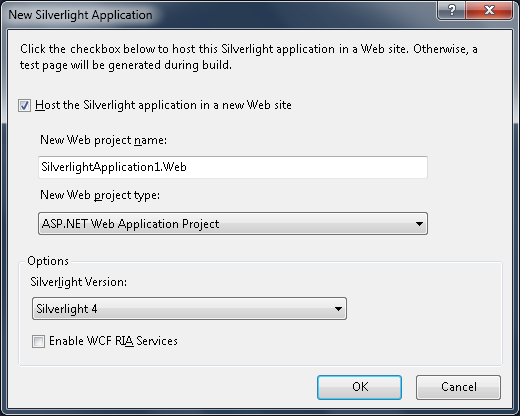 Figure 19 - New Silverlight Application Settings